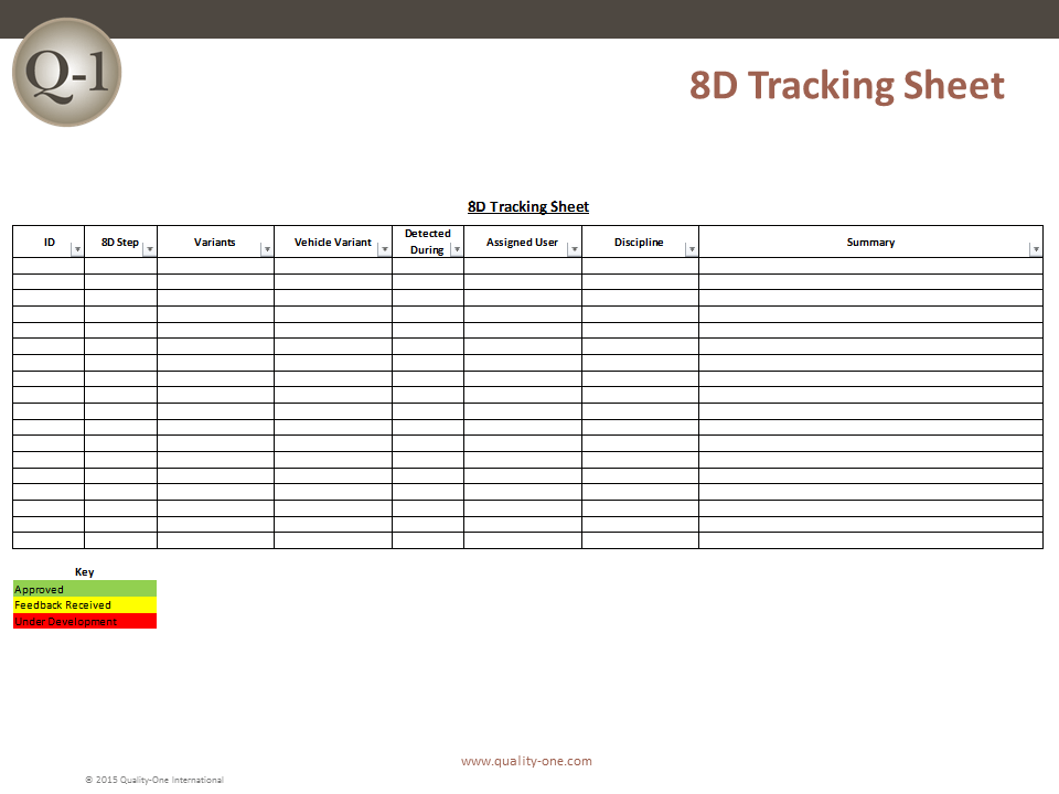 8D Project Tracking Example