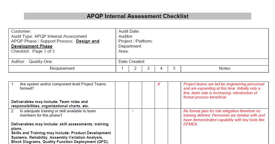 APQP Checklist - Design