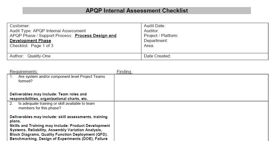 APQP Checklist - Process