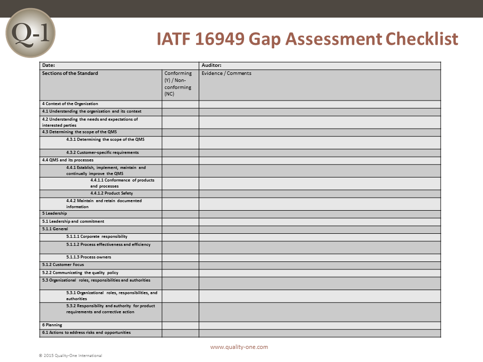 IATF 16949 Gap Assessment Checklist