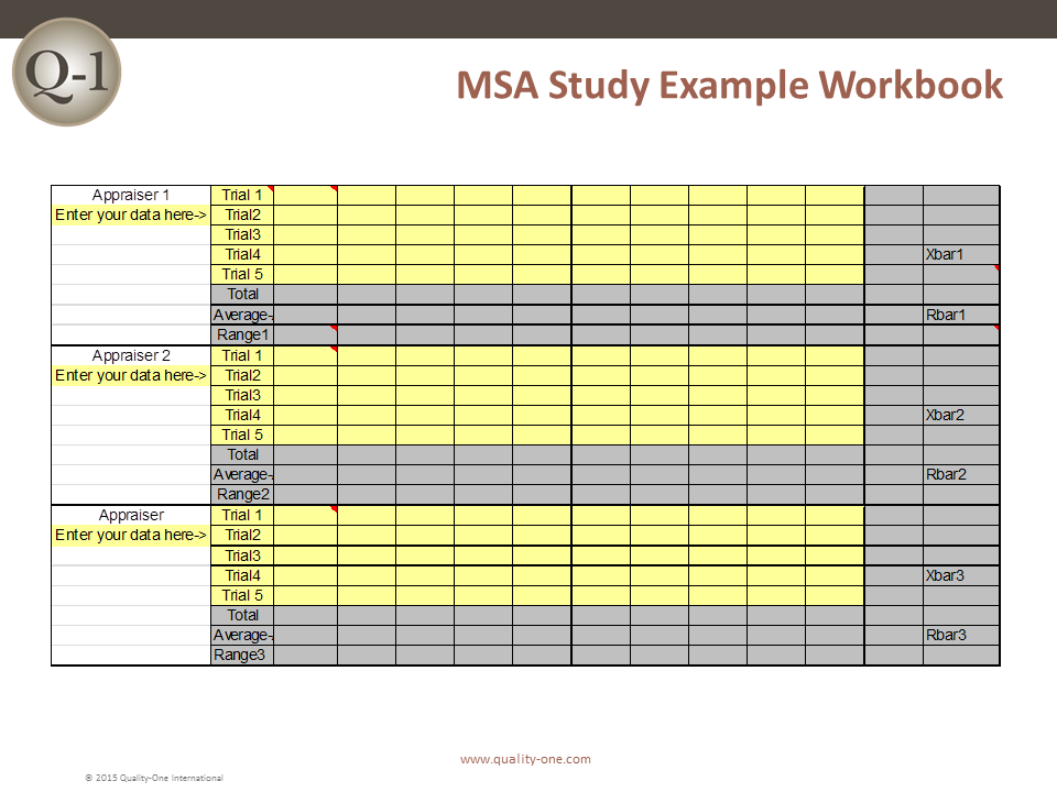 MSA Study Example Workbook