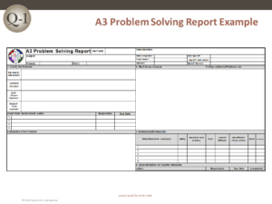 A3 Problem Solving Report Template Quality One
