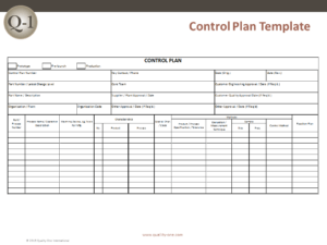 Control Plan Template – Quality-One
