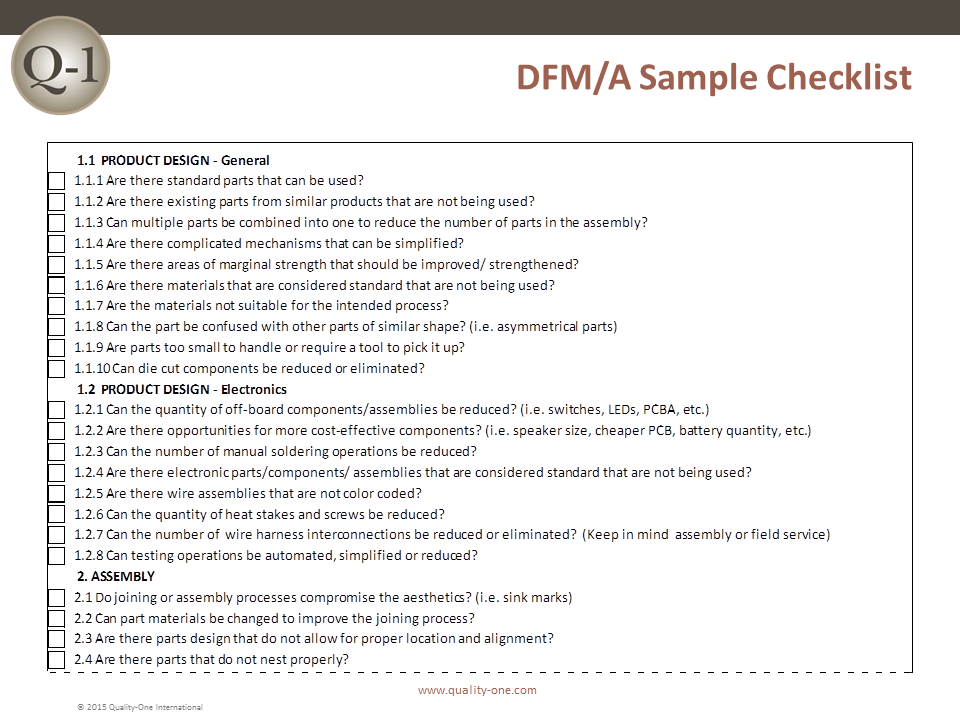 DFM/A - Sample Checklist