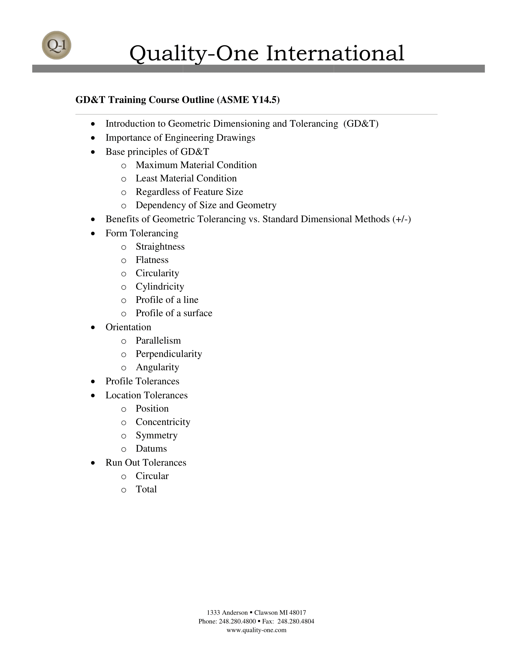 GD&T Training Course Outline