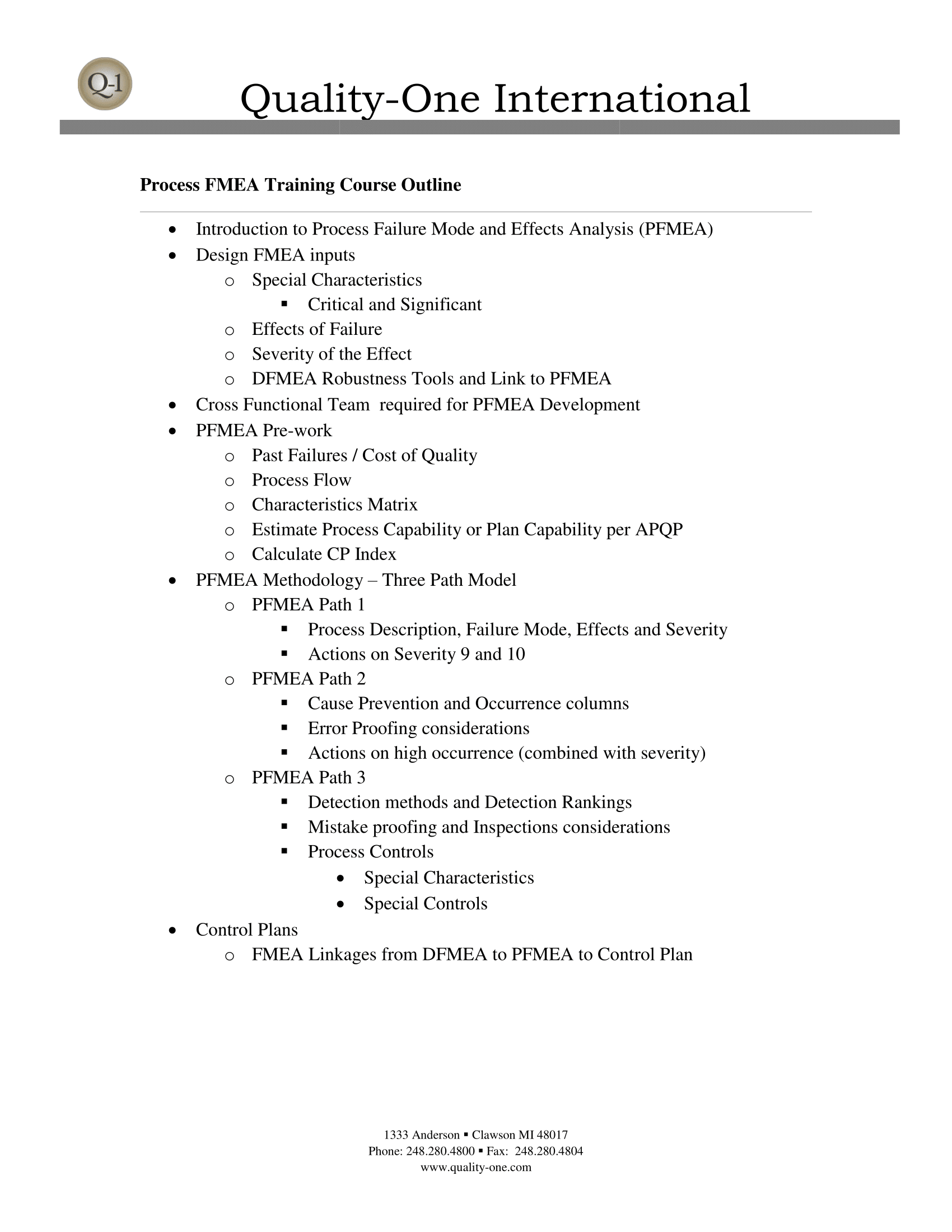 Process FMEA Training Course Outline