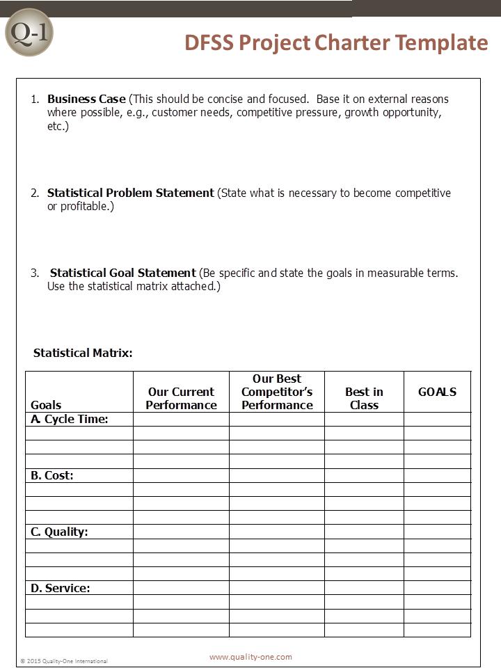 DFSS Project Charter Template
