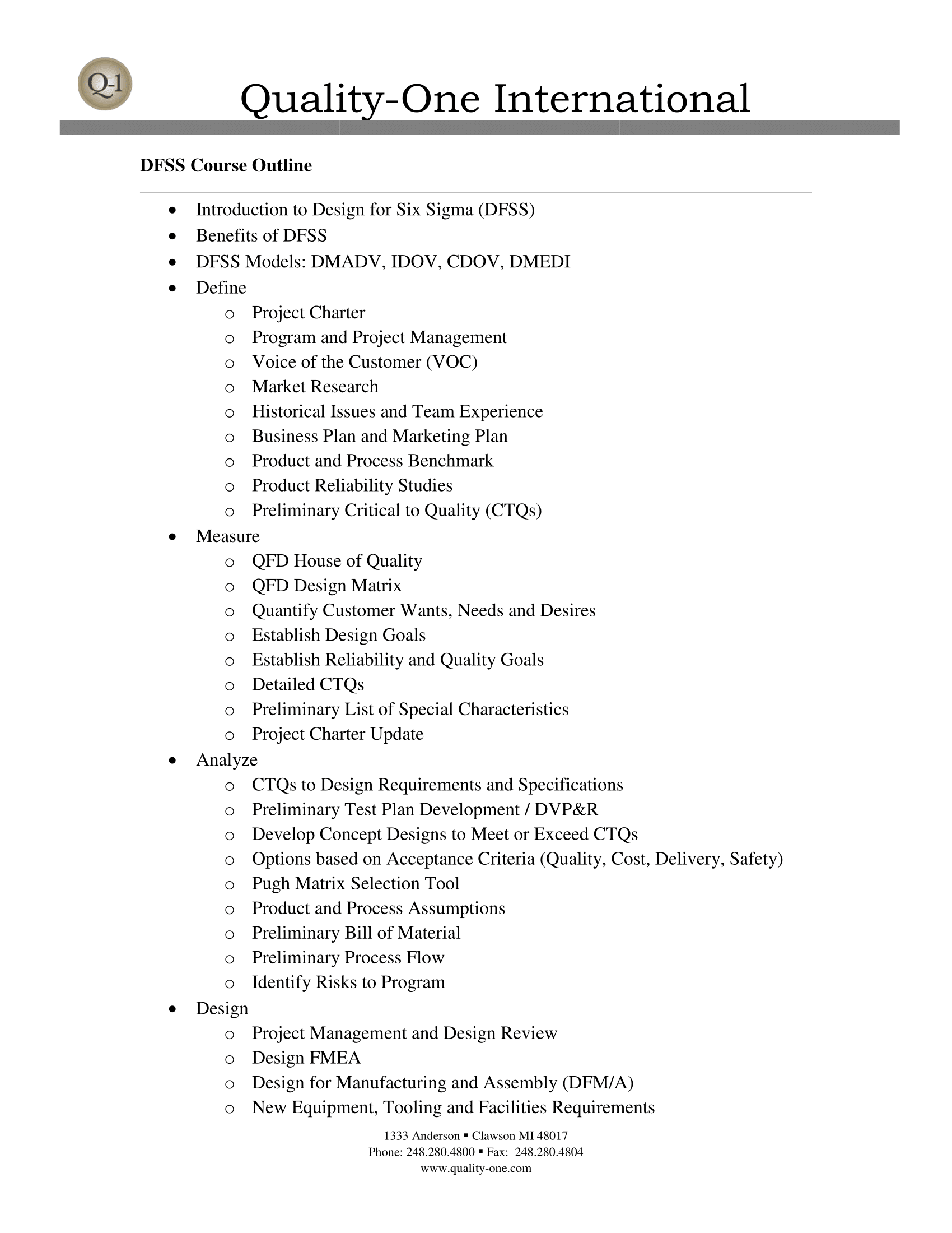 DFSS Training Course Outline