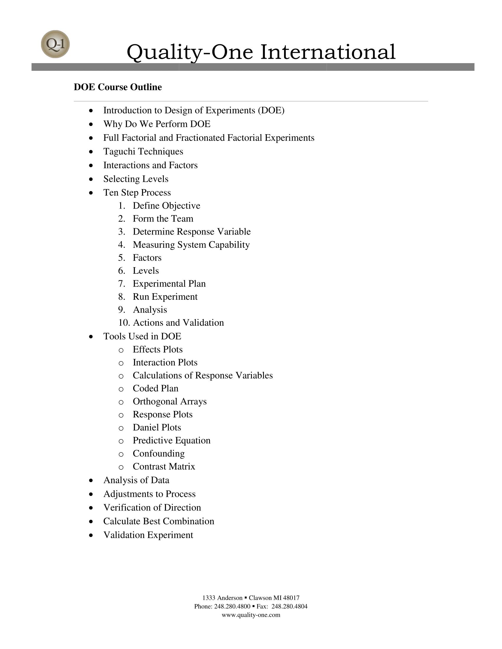DOE Training Course Outline