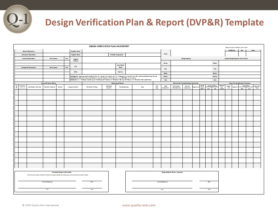 Dvp r design verification plan and report quality one for Software validation plan template