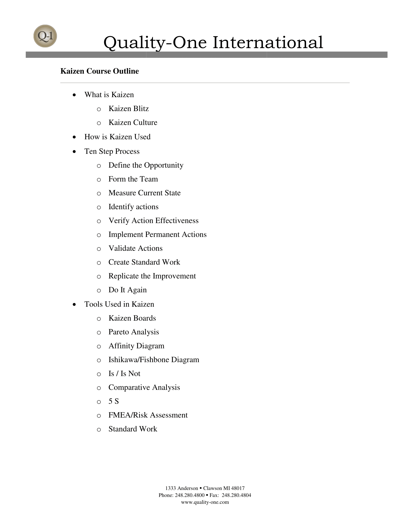 Kaizen Training Course Outline
