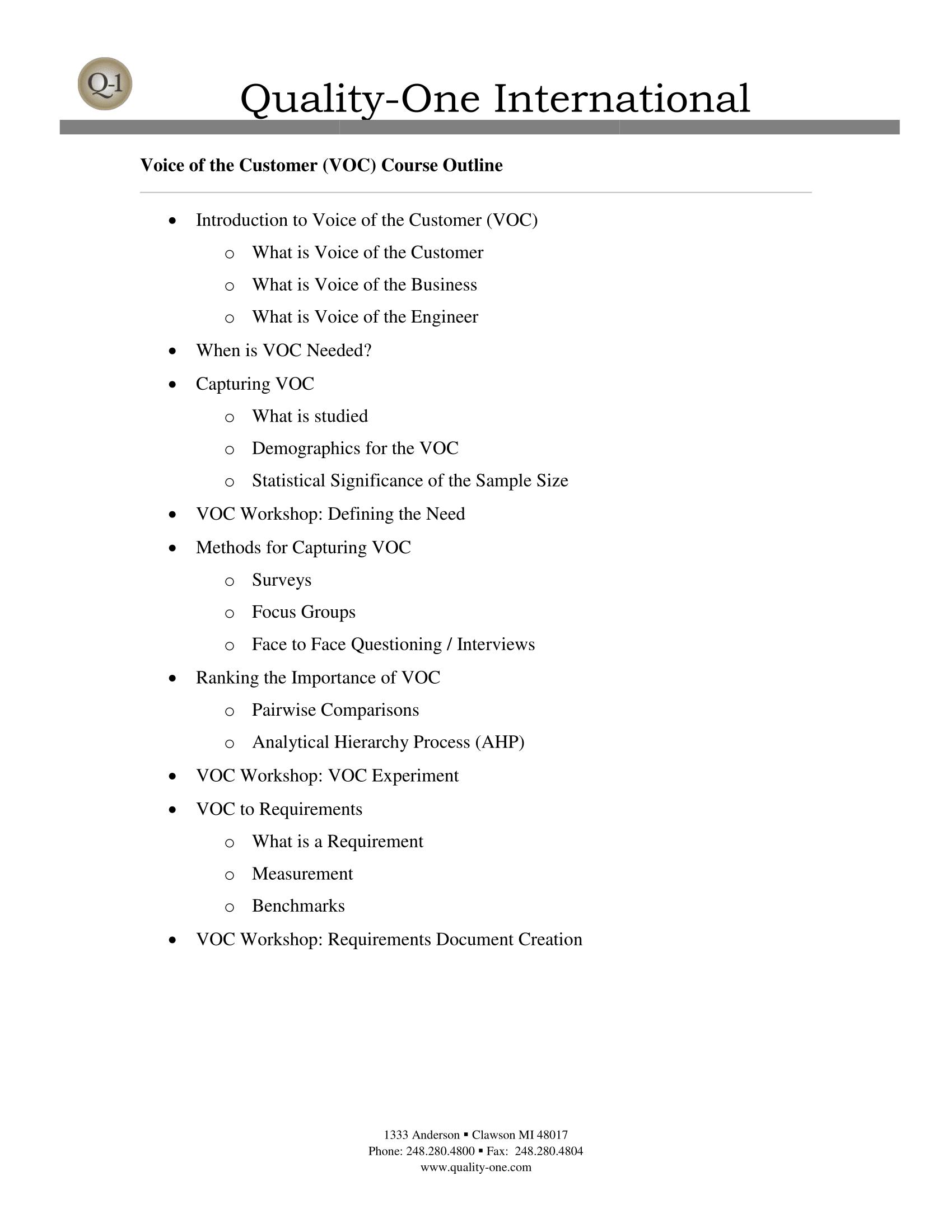VOC Training Course Outline