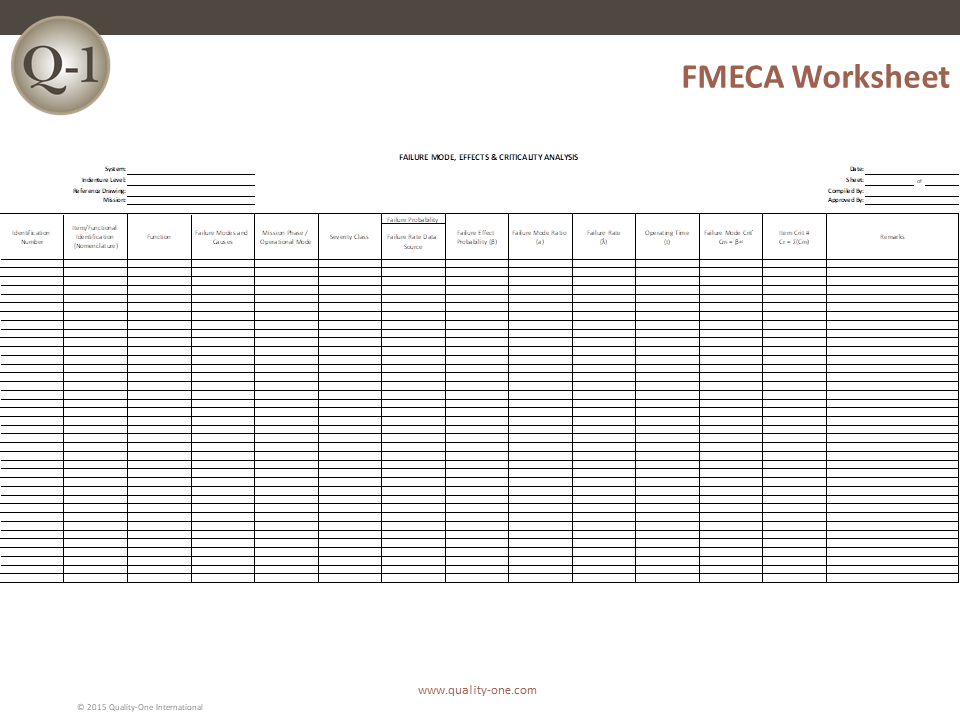 FMECA Worksheet