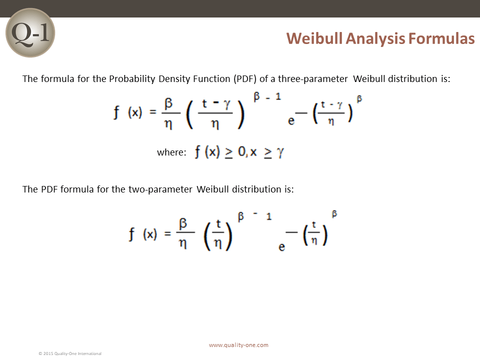 Weibull Analysis Formulas