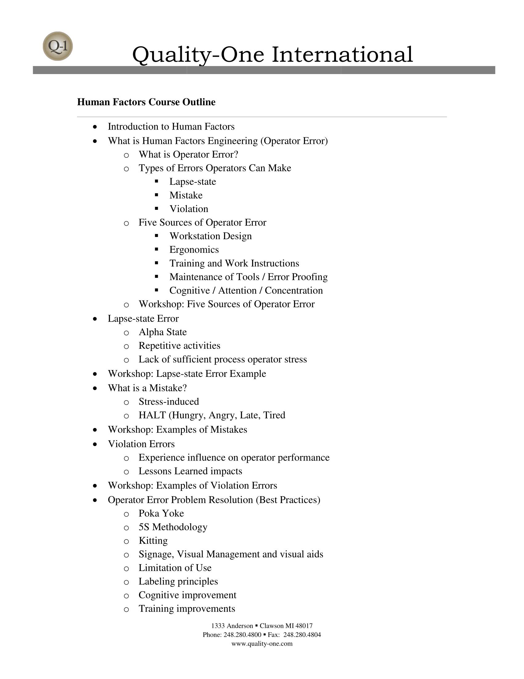 Human Factors Course Outline